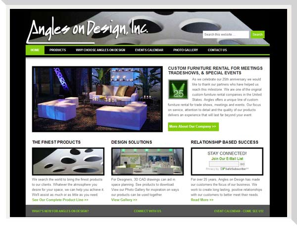 Angles on Design home page showing furniture