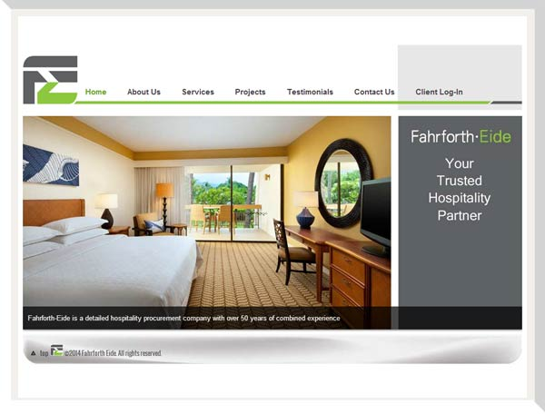 Fahrforth eide home page showing a hotel guest room