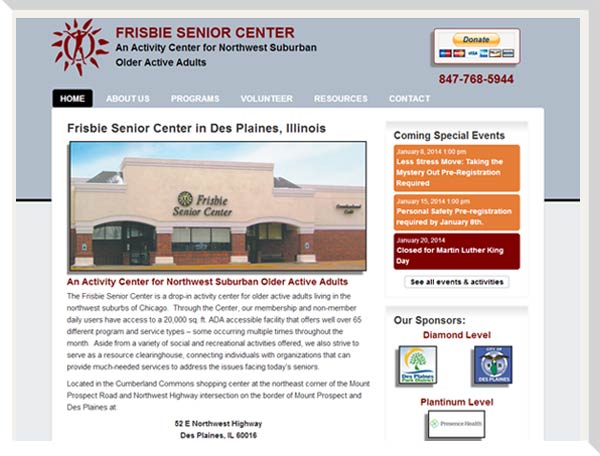 Frisbie Senior Center website main page with accessibility icons and calendar