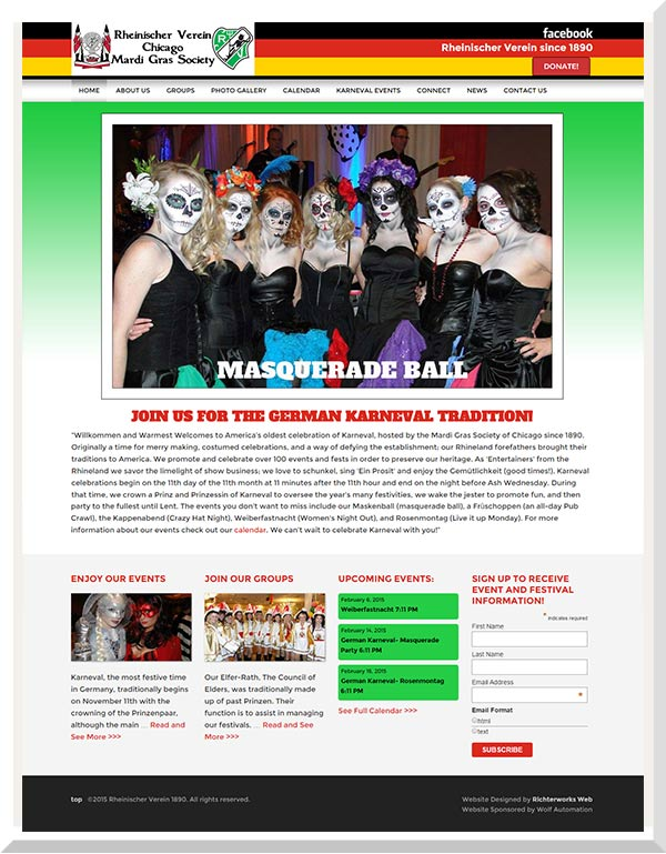 Home Page of Mardi Gras Chicago Website