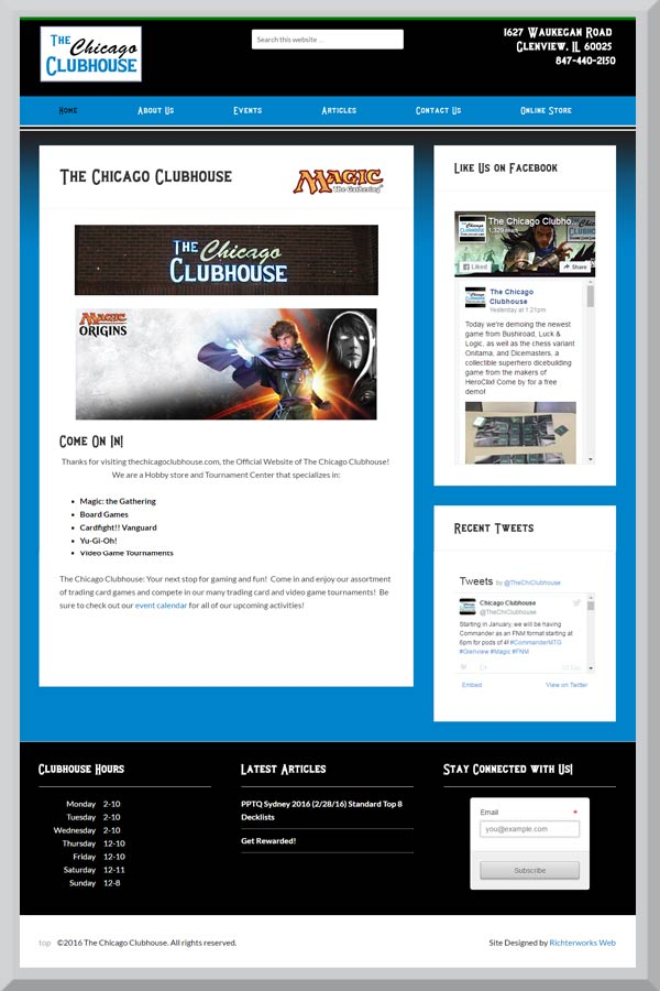 The Chicago Clubhouse main page retail site