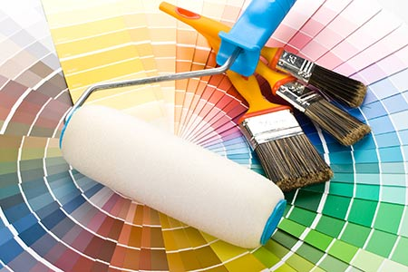 Starting Fresh with paint chips, paint roller and brushes